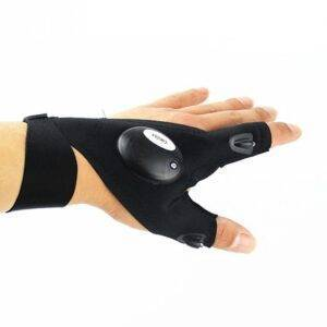 Black Outdoor Fishing Glove with LED Flashlight Fishing Accessories cb5feb1b7314637725a2e7: Black